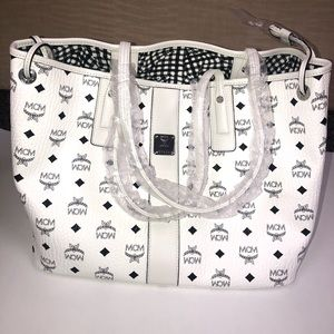 MCM white leather tote bag